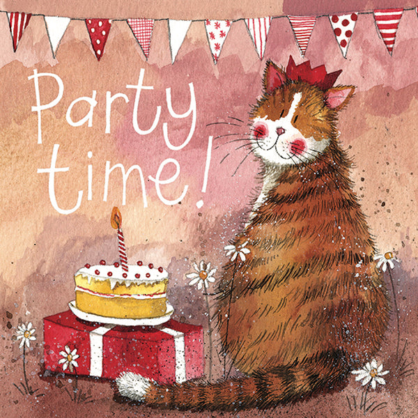 Party Hat Cat Birthday Greetings Card