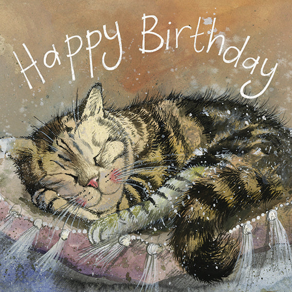 Sleep Tight Cat Birthday Greetings Card