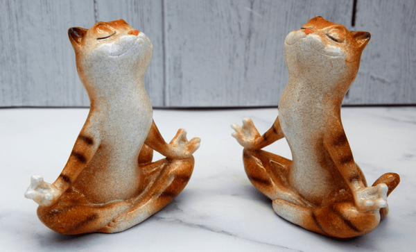 Pair of Ginger Yoga Cats Ceramic Ornament