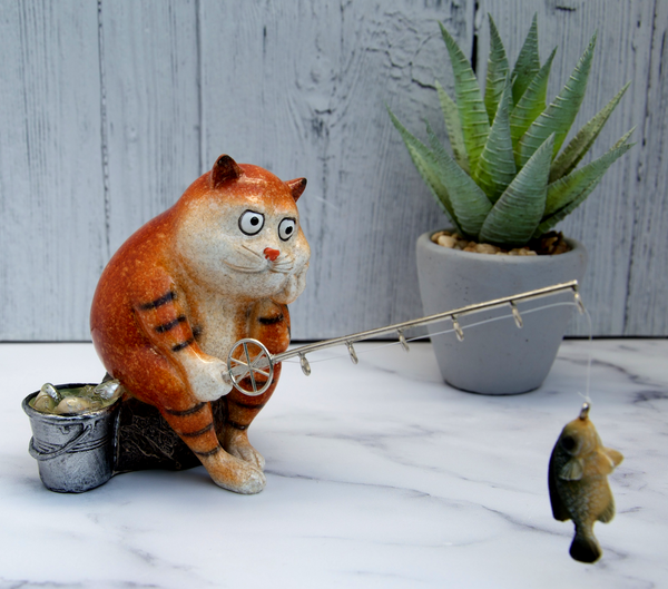 Ginger Fat Cat Waiting for Fish Ceramic Ornament