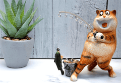 Ginger Fat Cat Caught the Fish Ceramic Ornament