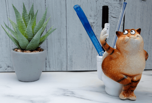 Ginger Fat Cat Taking Selfie on Toilet Ceramic Ornament Pen Holder