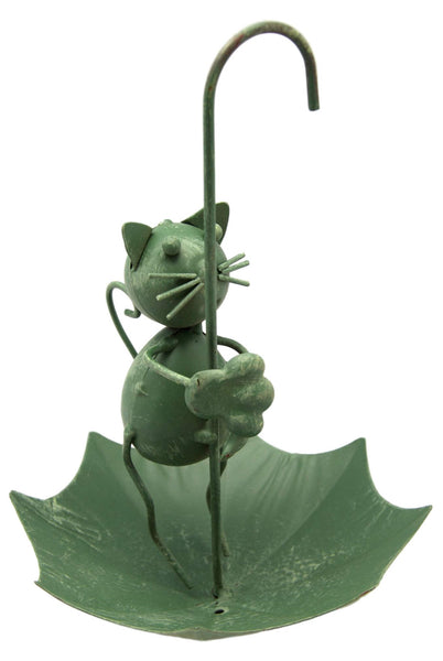 Metal Green Hanging Cat Raincatcher Ornament