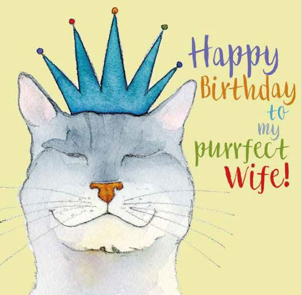 'Happy Birthday to my Purrfect Wife' Cat Greetings Card