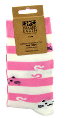 Cheeky Cats Pink & White Bamboo Socks