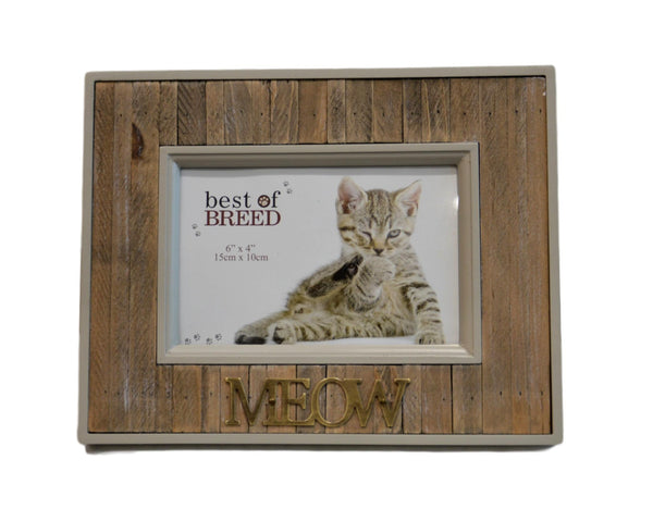 """MEOW"" Wooden Cat Picture Frame"