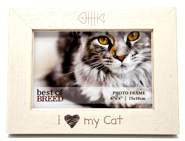 I Love My Cat Ivory Wooden Cat Picture Frame