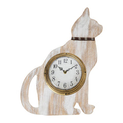 Whitewashed Wood Cat Shaped Wall Clock