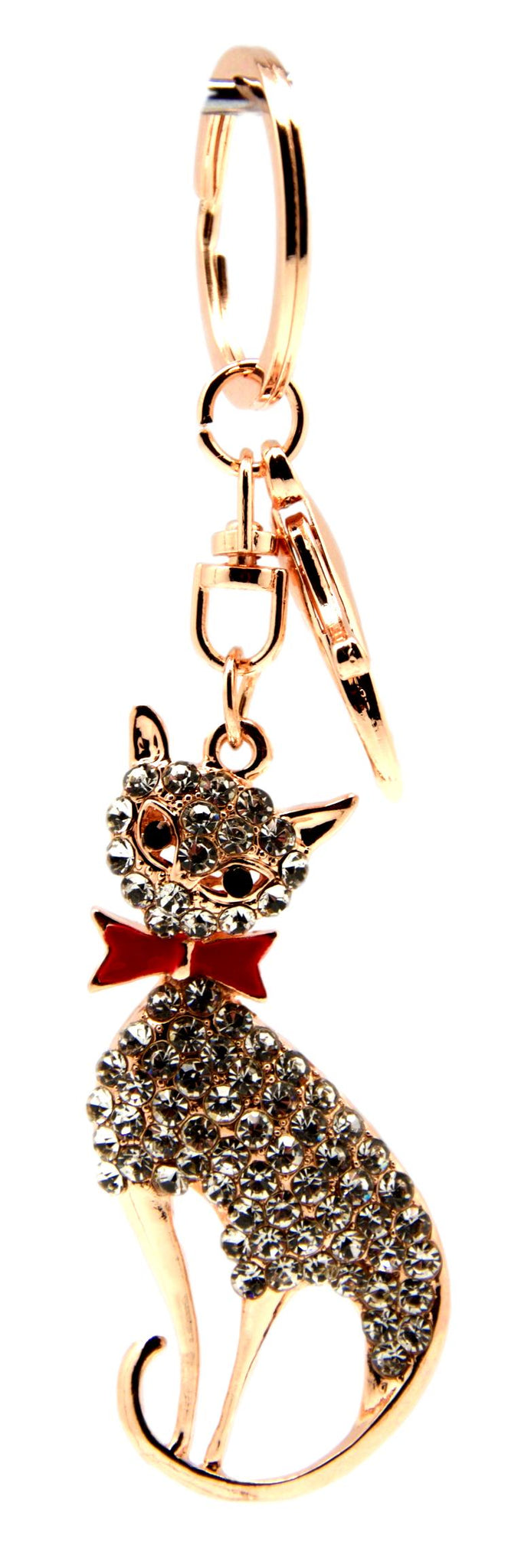 Red Bowtie Cat Bag Charm / Keyring