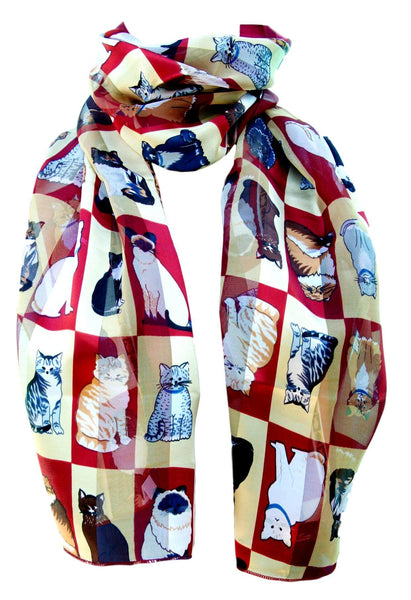 Burgundy Satin Chiffon Feel Cat Print Scarf
