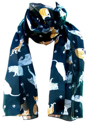 Black Satin Chiffon Feel Cat Print Scarf