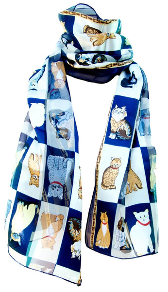 Blue Box Satin Chiffon Feel Cat Print Scarf