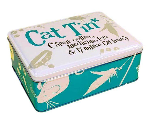 Blue & Silver Metal Cat Treat Tin