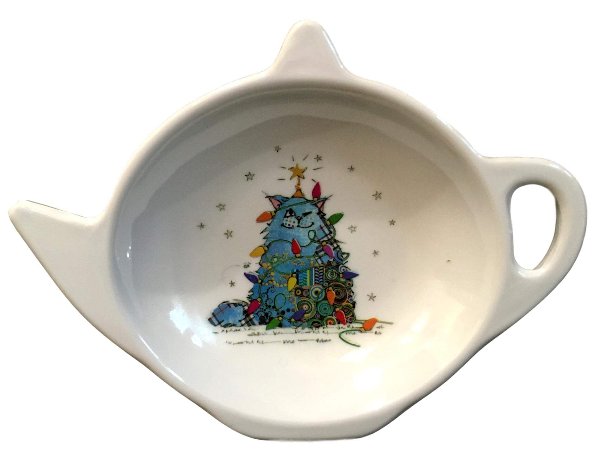 Kooks Xmas Cat Tree Tea Bag Tidy Spoon Rest