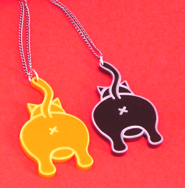 Ginger or Black Never Look Back Cat Bum Necklace