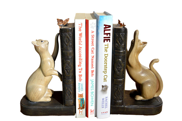 Cat Book Ends Chasing Butterflies