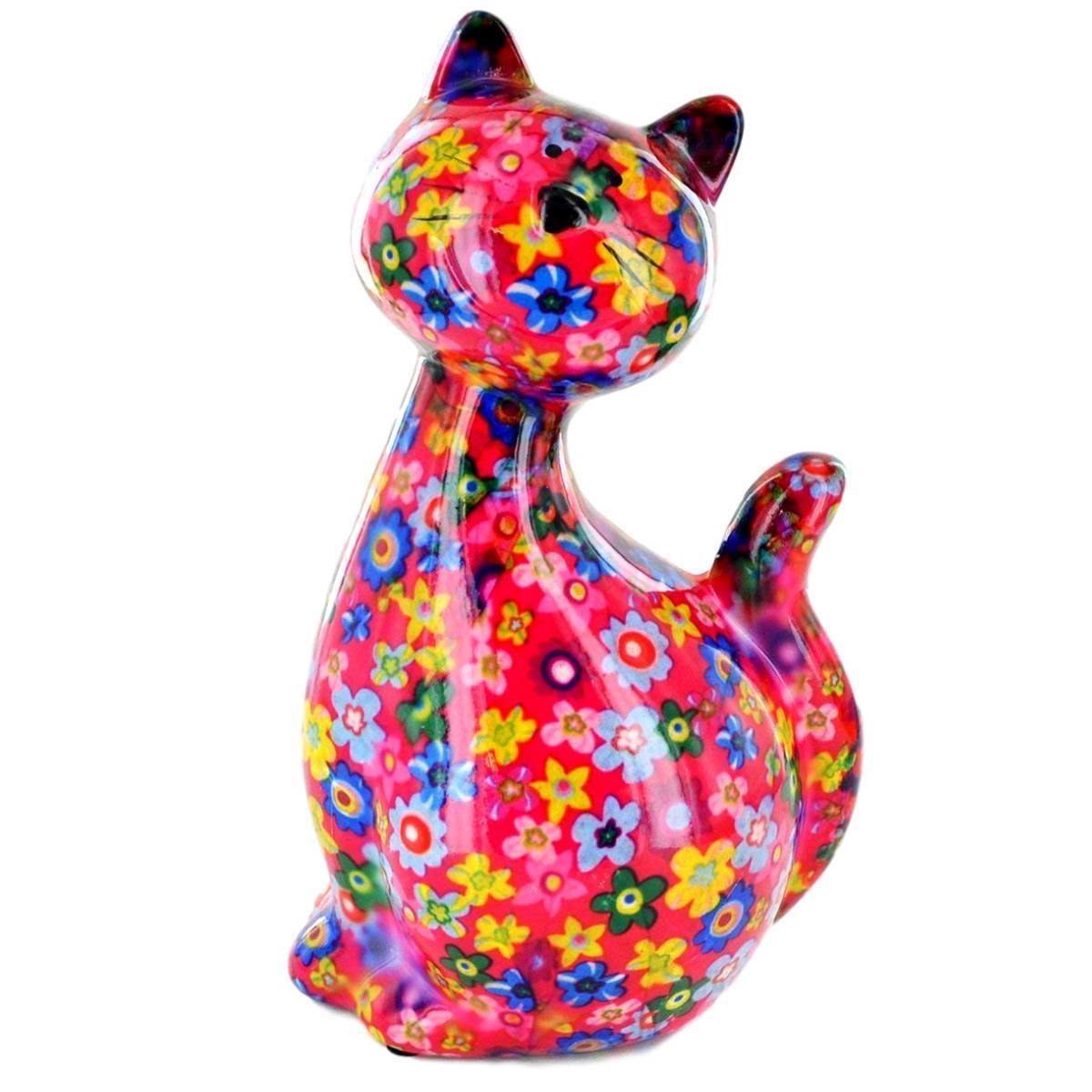 Bright Pink Ceramic Pomme Pidou Caramel Cat Money Box