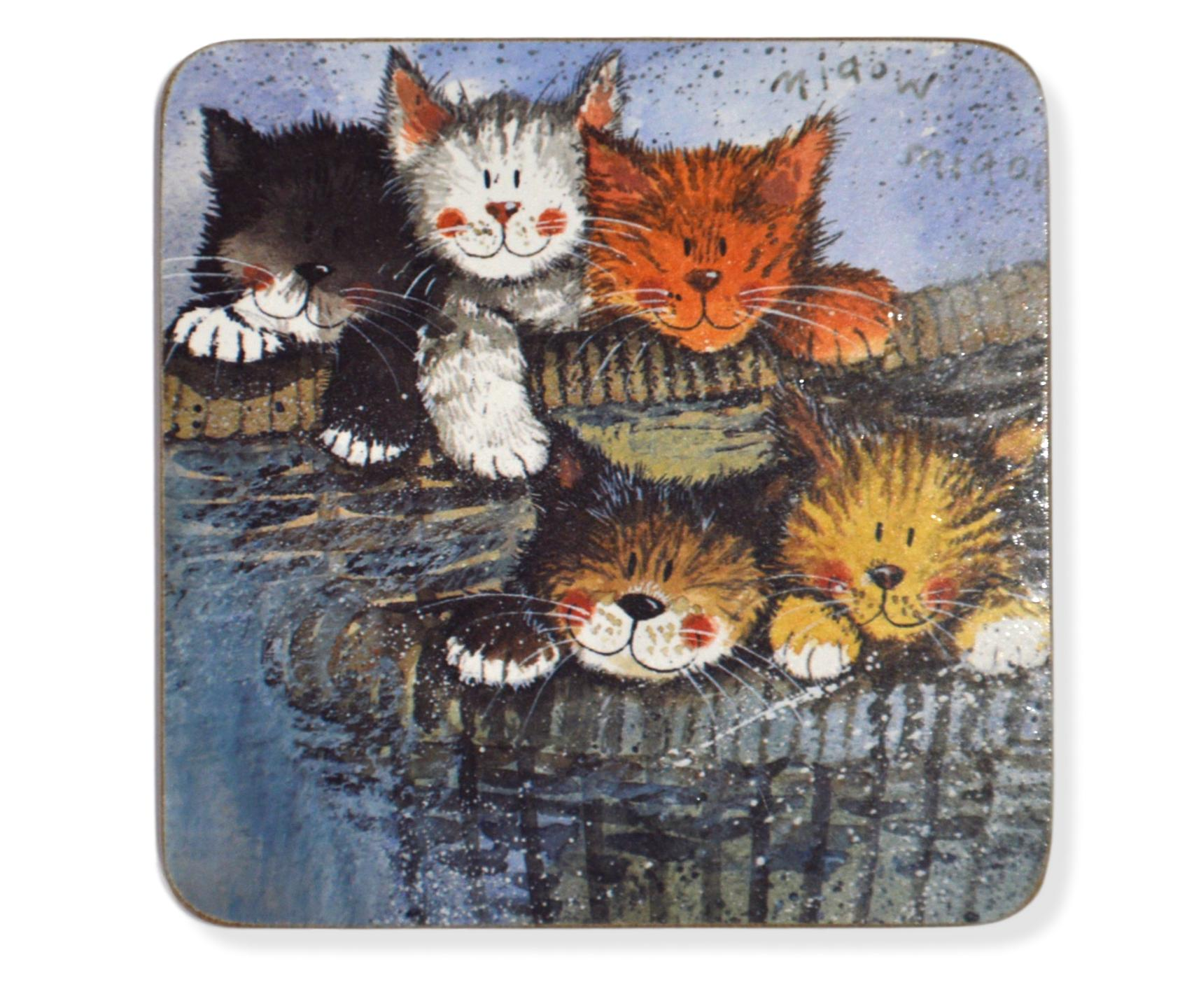 Set of 2 Kittens Cat Coasters