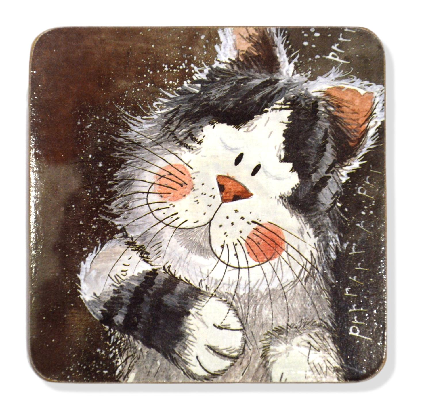 Set of 2 Taking It Easy Cat Coasters