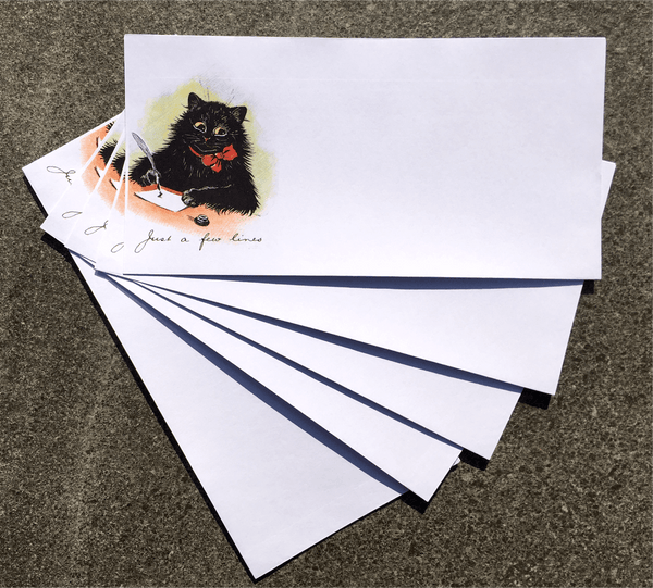 Pack of 5 Black Cat DL White Envelopes