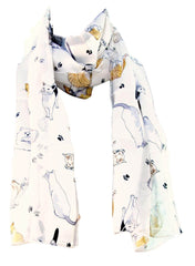 Cream Satin Chiffon Feel Cat Print Scarf