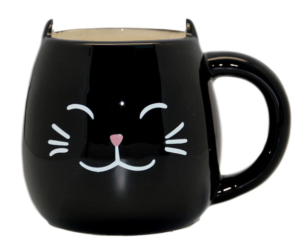Animal Friends Ceramic Black Cat Mug with Ears