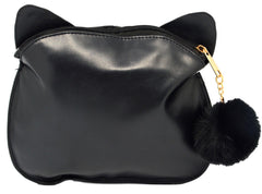 Animal Friends Faux Leather Cat Cosmetic Makeup Bag