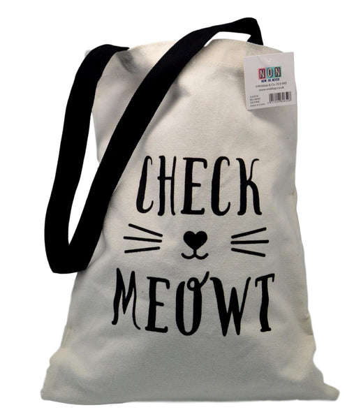 Animal Friends Canvas Shopper - Check Meowt Tote Bag