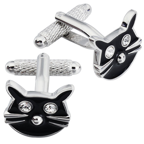 Black Cat Face Cufflinks