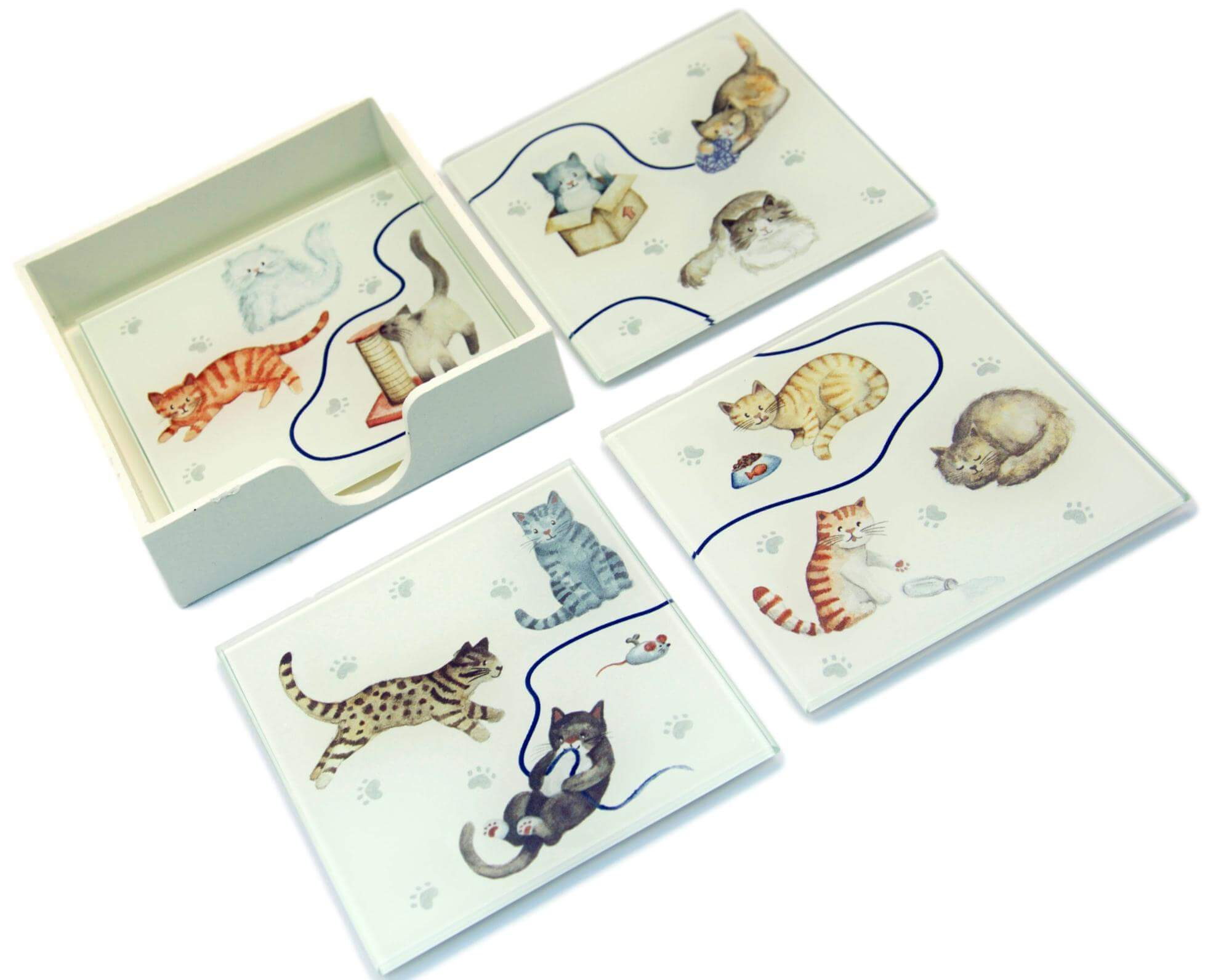 Set of 4 Glass Cat Puzzle Coasters