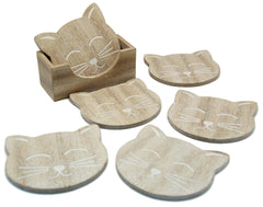 Set of 6 Rustic Wooden Cat Face Coasters