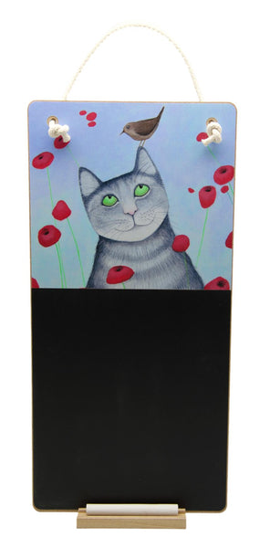 Cat with Poppies Chalkboard & Chalk