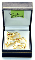Cats with Red Eyes Gold Crystal Brooch / Scarf Pin