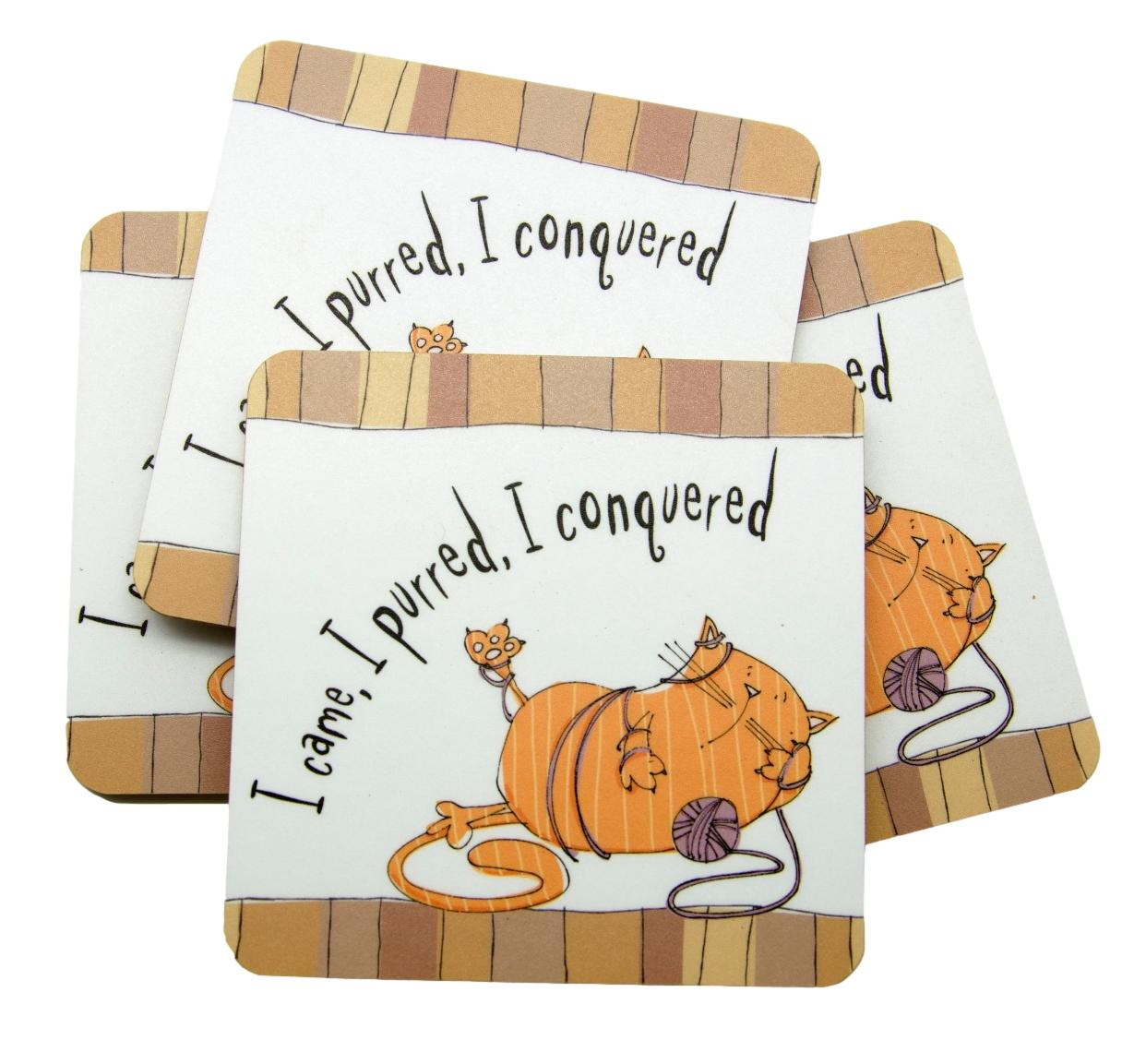 I Came, I Purred, I Conquered Set of 4 Cat Coasters