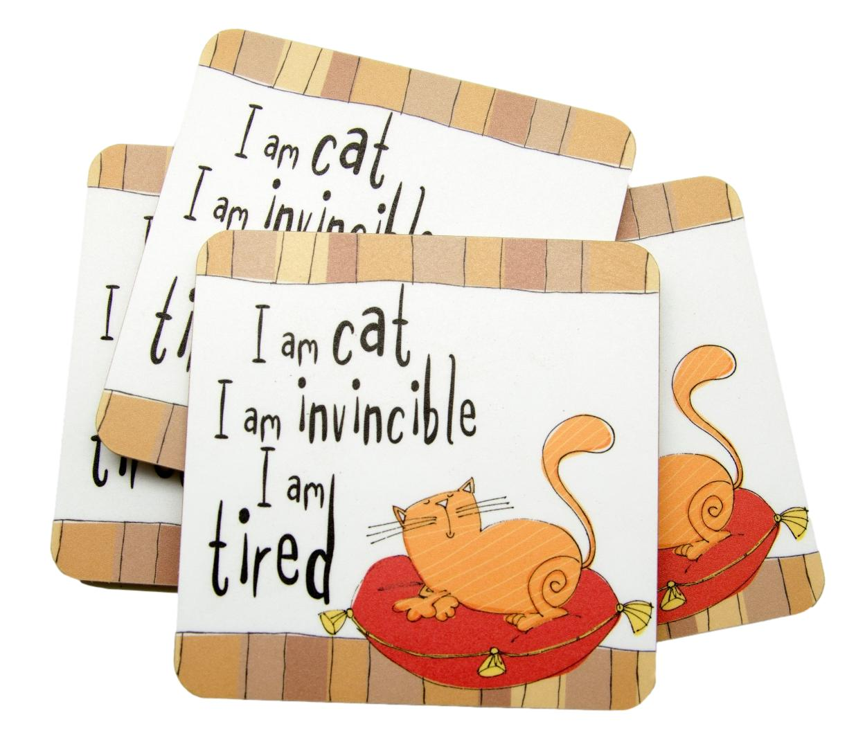 Cat Invincible Set of 4 Cat Coasters