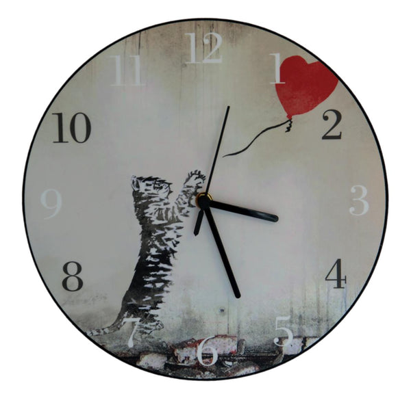 Banksy Style Cat With Balloon Cat Clock