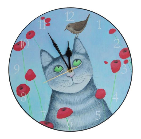 Cat With Poppies Wall Clock