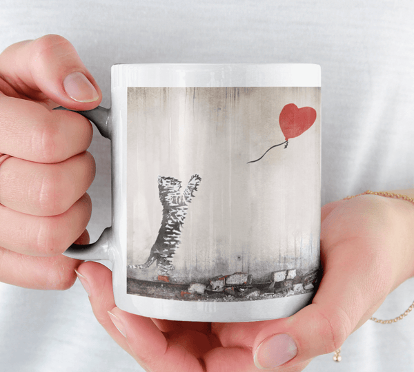 Banksy Style Cat with Balloon Mug