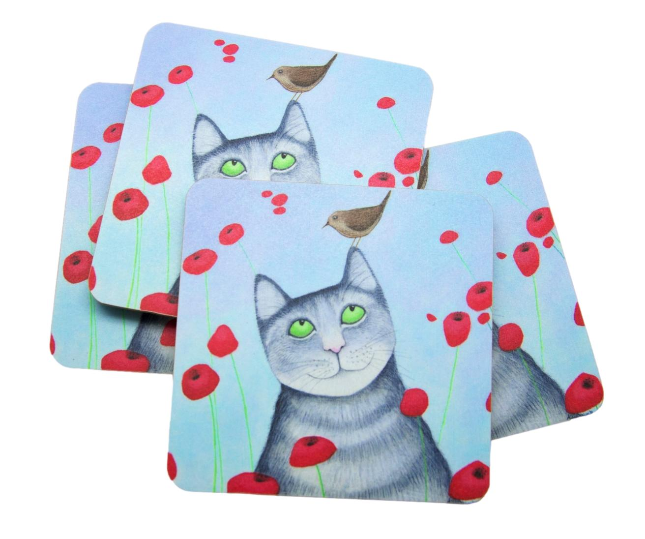 Ailsa Black Cat With Poppies Set of 4 Cat Coasters