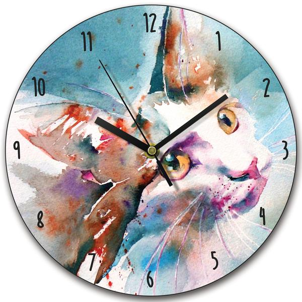 Watercolour Cat Clock The Look of Love