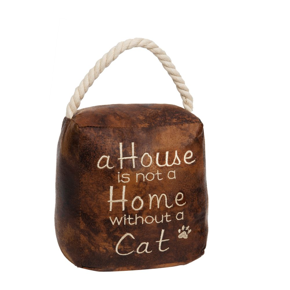 HESTIA® A House Is Not A Home Without A Cat Faux Leather Square Door Stop
