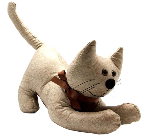 Beige Cat Faux Leather Door Stop