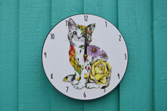 Watercolour Cat Clock Rosie