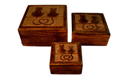 Set of 3 Wooden Cat Boxes