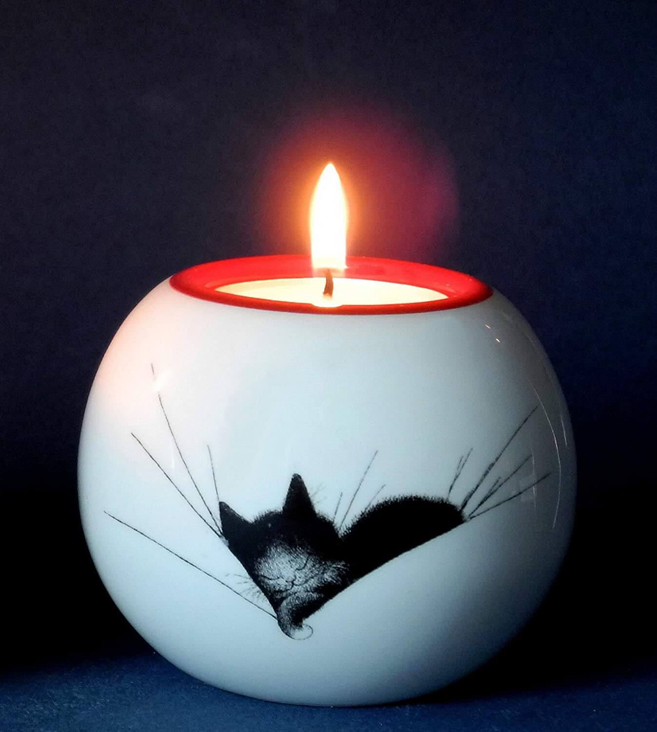 Dubout Cats, Cat Nap Black Cat Tea Light Holder