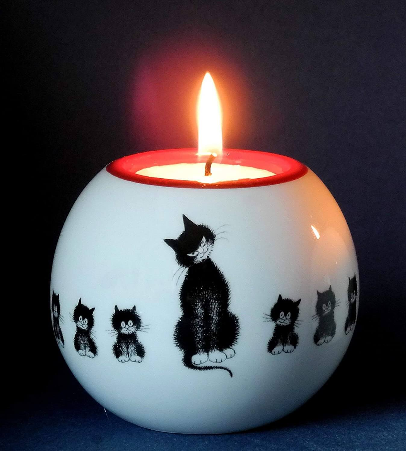 Dubout Cats, Cats in a Row Round Black Cat Tea Light Holder