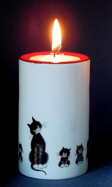 Dubout Cats, Black Cats in a Row Tea Light Holder