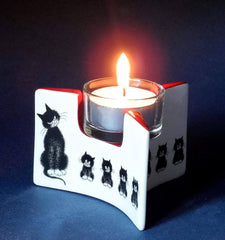 Dubout Cats, Cats in a Row Triangle Black Cat Tea Light Holder