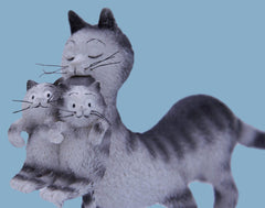 Dubout - Mum and her Babies Cat Figurine