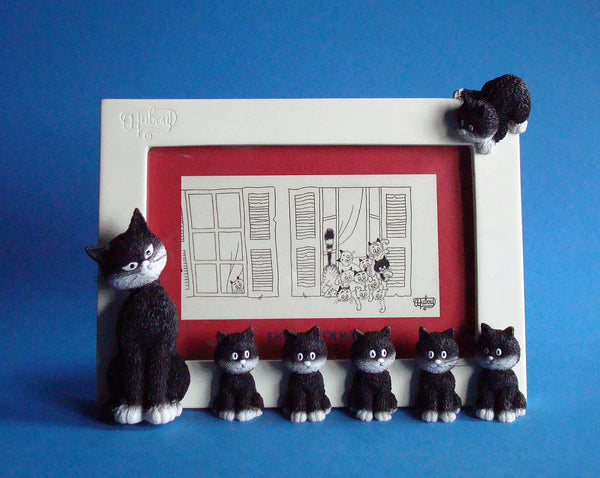 Dubout Cats - Cats in a Line Picture Frame (White Frame)